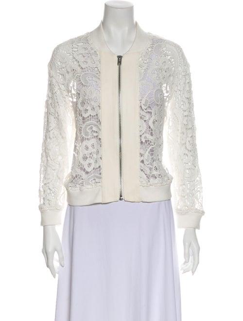 Iro Lamb Leather Lace Pattern Evening Jacket White