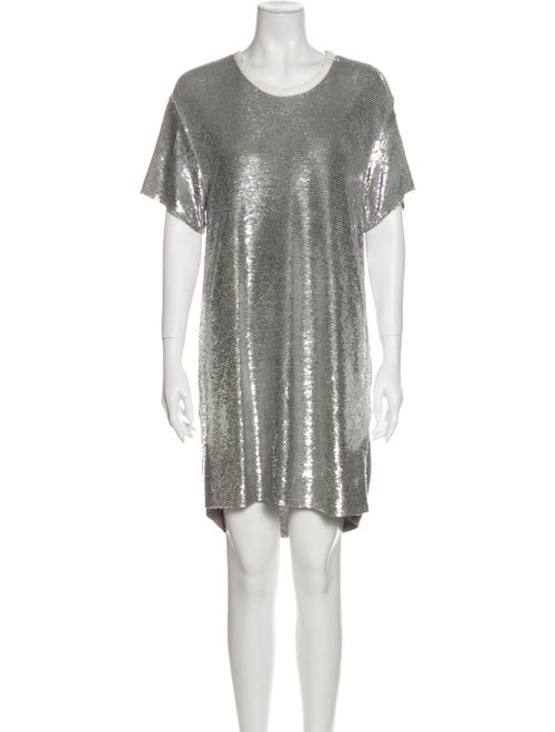 Iro Scoop Neck Mini Dress Metallic