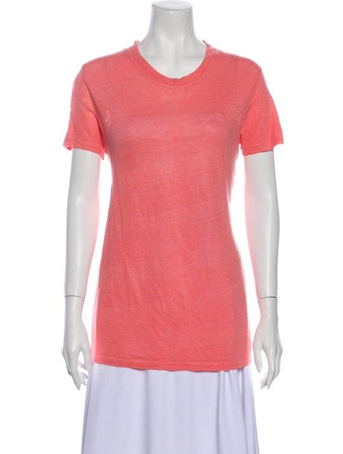 Iro Linen Crew Neck T-Shirt Orange