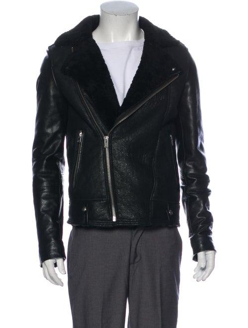 Iro Shearling Moto Jacket Black