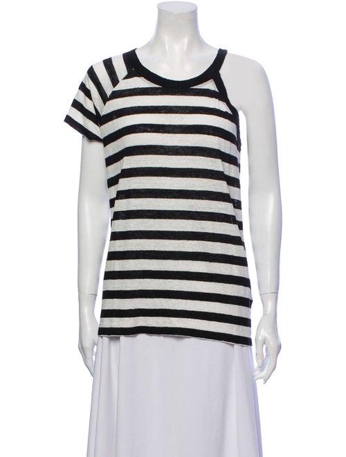 Iro Linen Striped T-Shirt Black