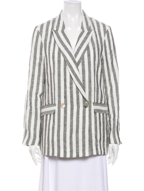 Iro Linen Striped Blazer White