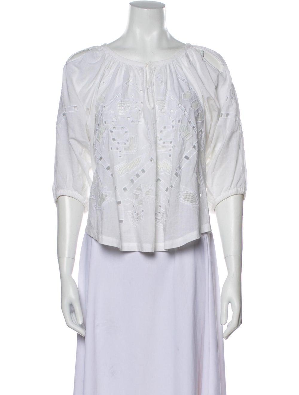 Iro Lace Pattern Scoop Neck Blouse White - image 1