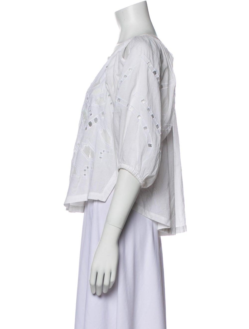 Iro Lace Pattern Scoop Neck Blouse White - image 2