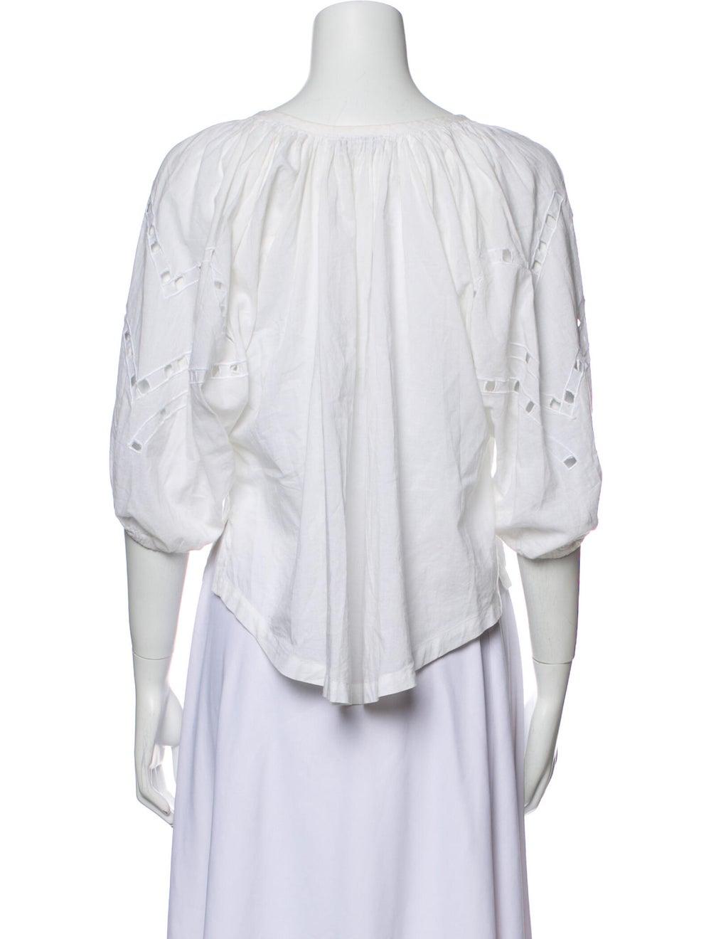Iro Lace Pattern Scoop Neck Blouse White - image 3