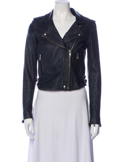 Iro Lamb Leather Biker Jacket Blue - image 1