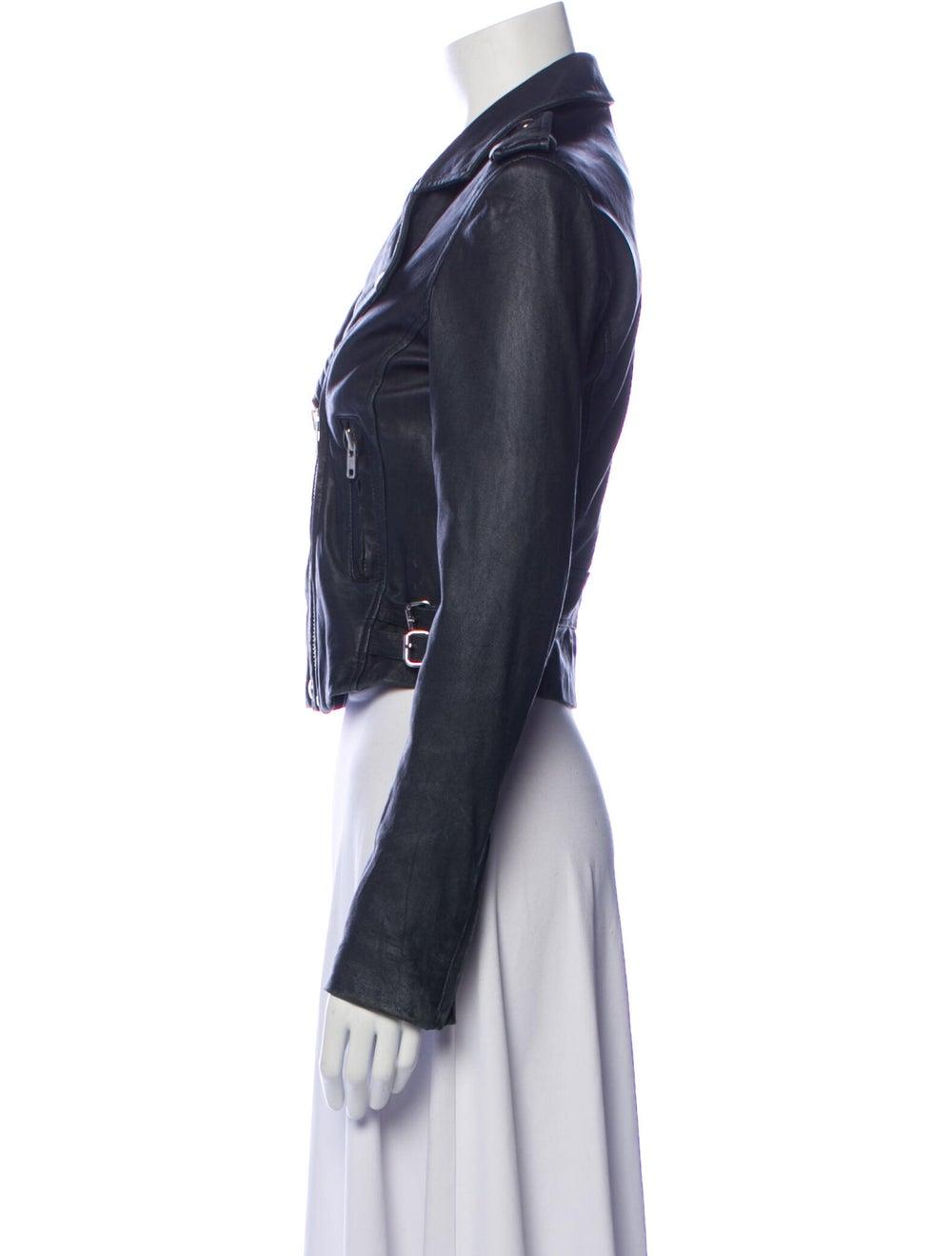 Iro Lamb Leather Biker Jacket Blue - image 2