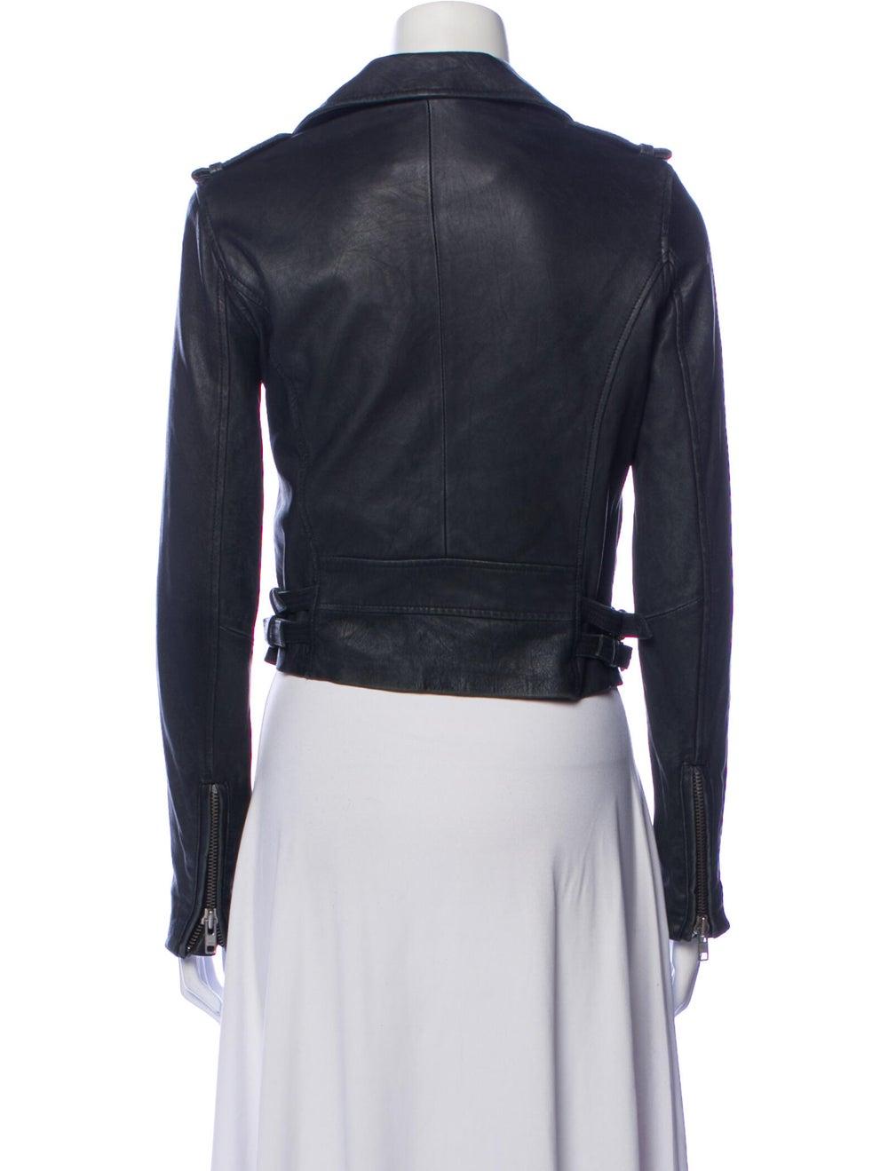 Iro Lamb Leather Biker Jacket Blue - image 3