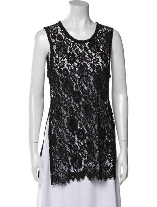 Iro Lace Pattern Scoop Neck Top Black