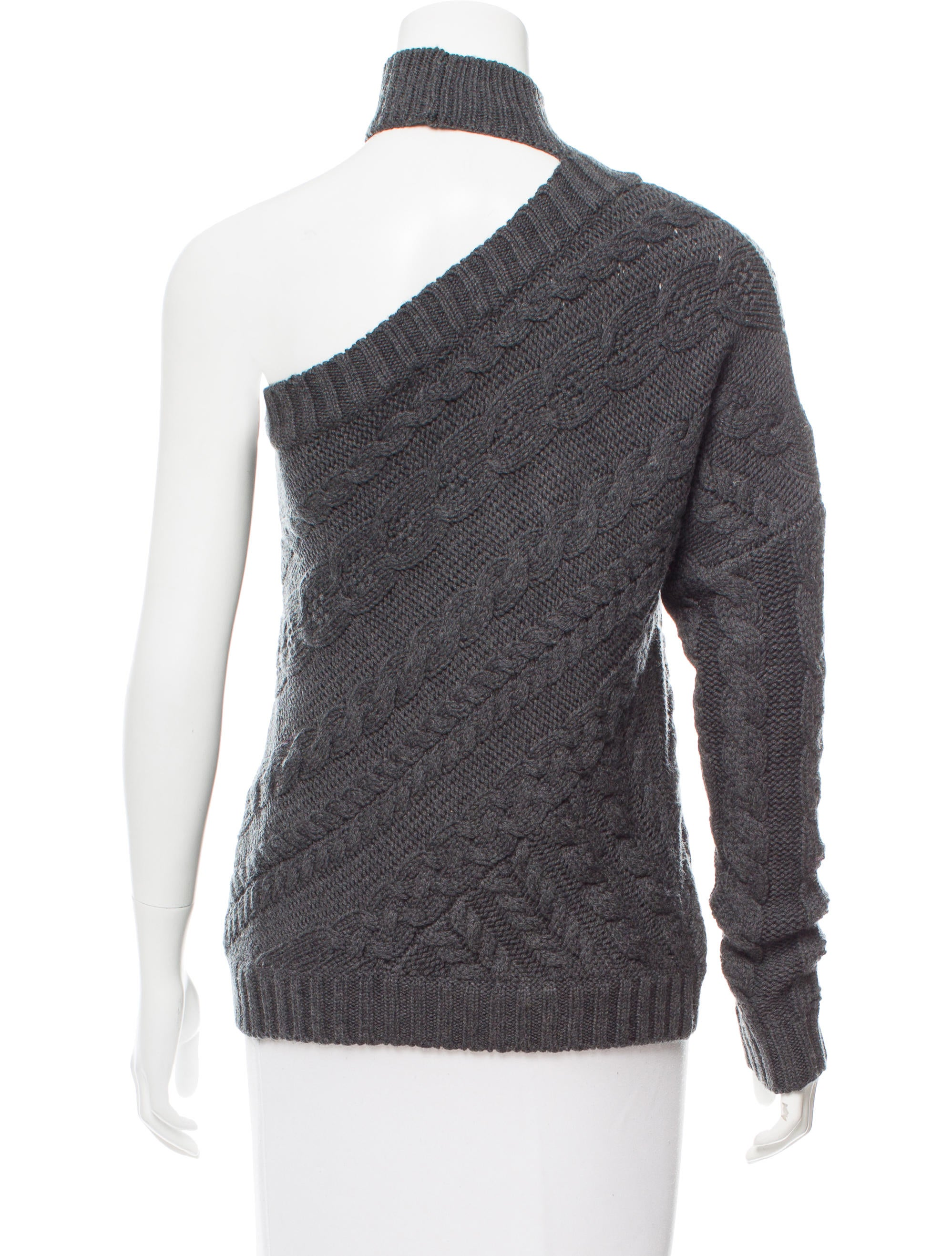 intermix cable knit one shoulder sweater clothing. Black Bedroom Furniture Sets. Home Design Ideas