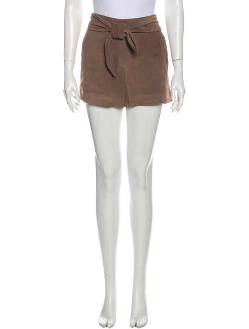 Intermix Leather Mini Shorts Brown