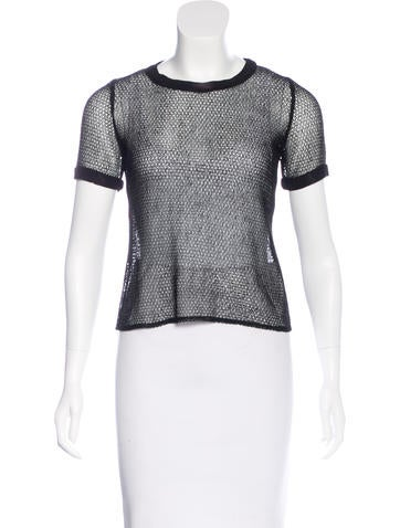 Jonathan Simkhai Short Sleeve Mesh Top None