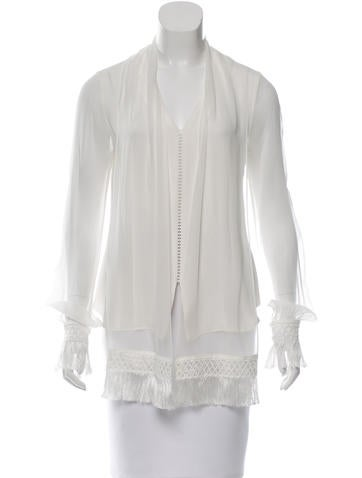 Jonathan Simkhai Silk Fringe-Trimmed Top w/ Tags None
