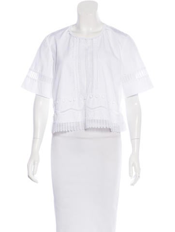 Jonathan Simkhai Lace-Accented Short Sleeve Top None