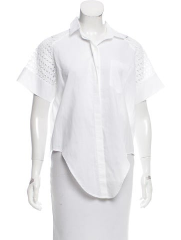 Jonathan Simkhai Eyelet-Accented Short Sleeve Top None