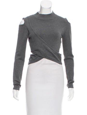 Jonathan Simkhai Draped Cold Shoulder Sweater None