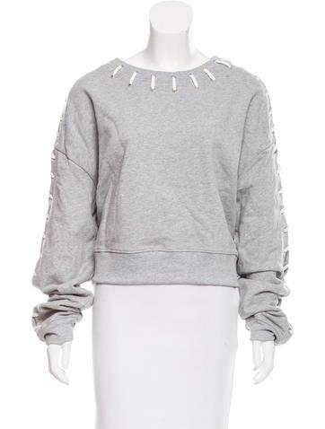 Jonathan Simkhai Lace-Up Scoop Neck Sweatshirt w/ Tags None