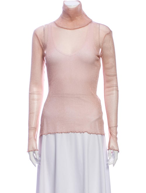 Jonathan Simkhai Turtleneck Long Sleeve Top Metall