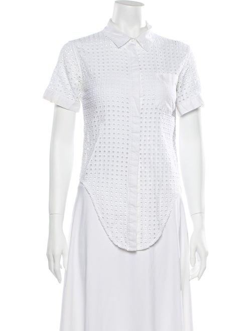 Jonathan Simkhai Short Sleeve Button-Up Top White