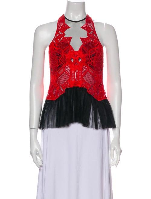 Jonathan Simkhai Lace Pattern Crew Neck Blouse Red