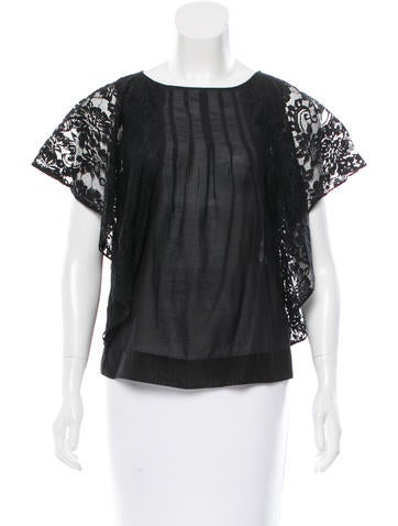 Joie Lace-Accented Short Sleeve Top