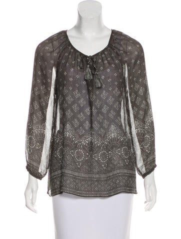 Joie Long Sleeve Silk Top None