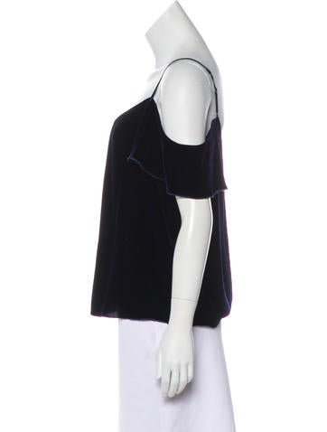 Cold-Shoulder Velvet Top