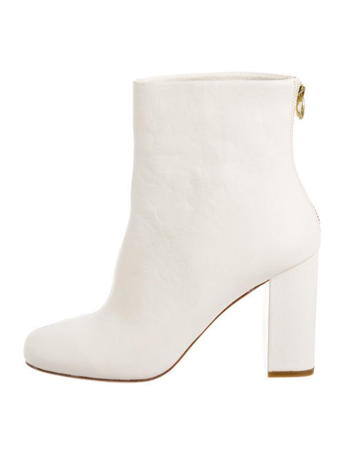 Joie Leather Square-Toe Ankle Boots white