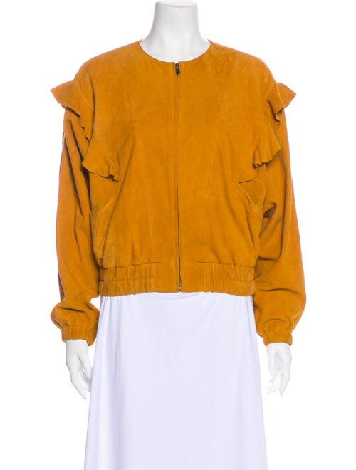Joie Lamb Leather Bomber Jacket Orange