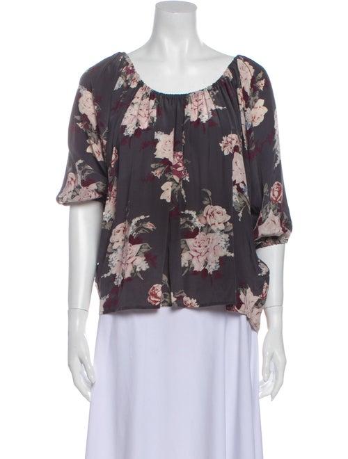 Joie Silk Floral Print Blouse Grey