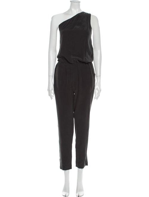 Joie Silk One-Shoulder Jumpsuit Black