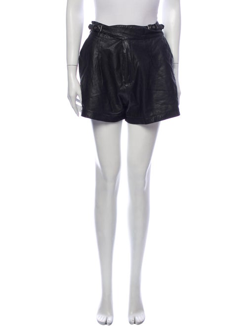 Joie Lamb Leather Mini Shorts Black