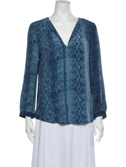 Joie Silk Animal Print Blouse Blue