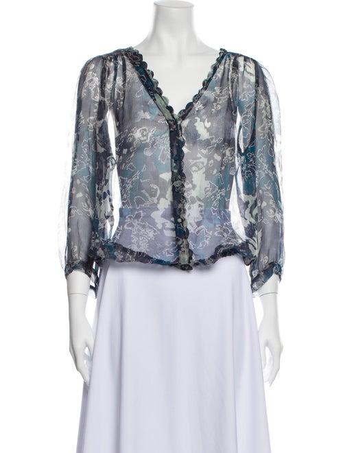Joie Floral Print V-Neck Button-Up Top Blue