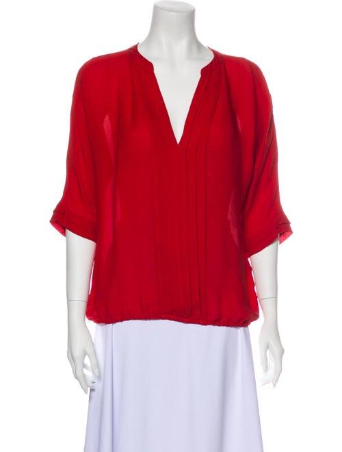 Joie Silk V-Neck Blouse Red