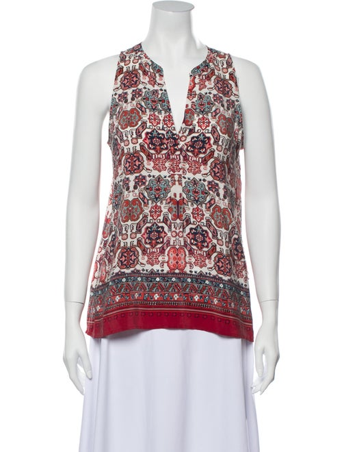 Joie Silk Printed Blouse Red