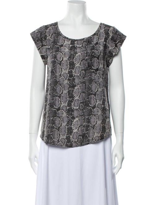 Joie Silk Animal Print Blouse Grey
