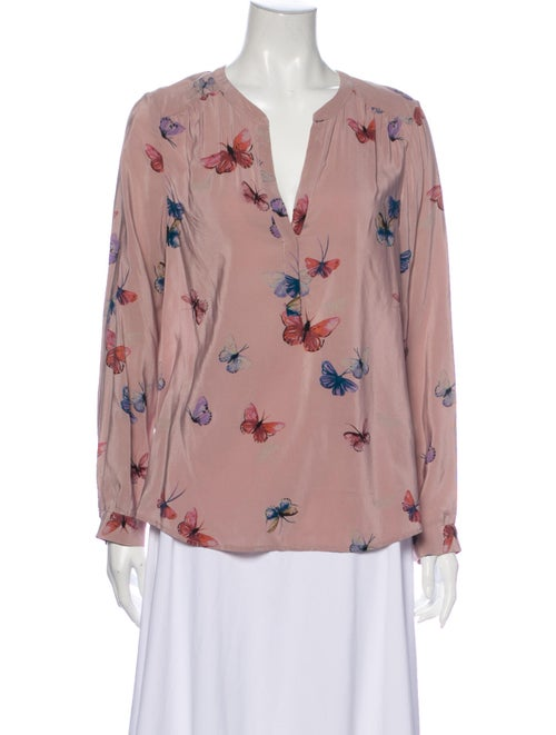 Joie Silk Floral Print Blouse Purple