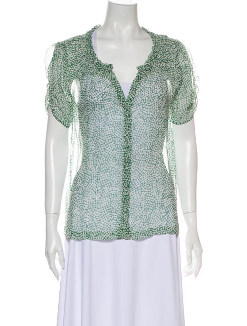 Joie Silk Printed Blouse Green