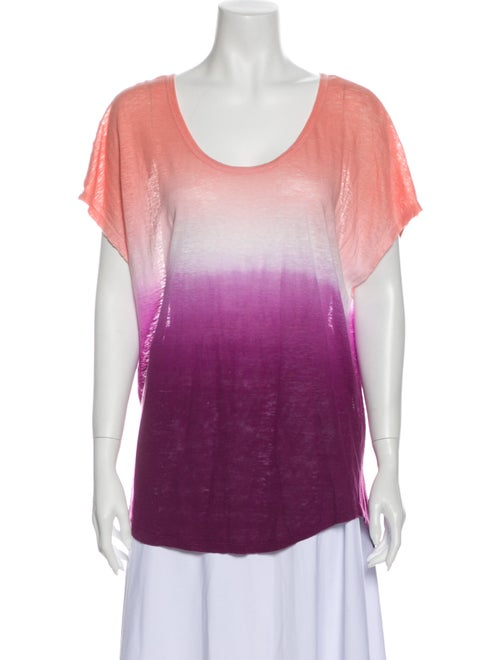 Joie Linen Tie-Dye Print T-Shirt Orange