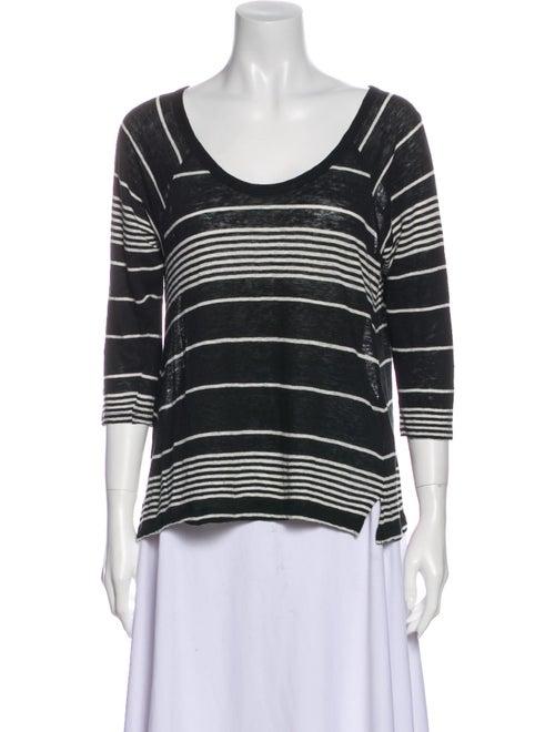 Joie Linen Striped T-Shirt Black