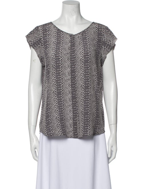 Joie Silk Printed Blouse Grey