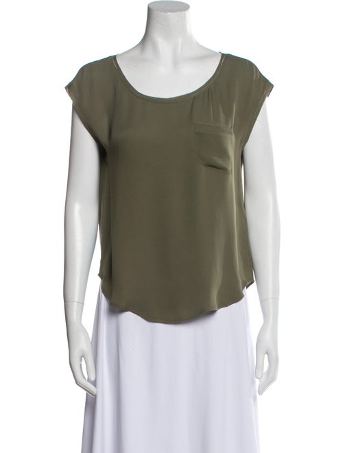Joie Silk Scoop Neck T-Shirt Green