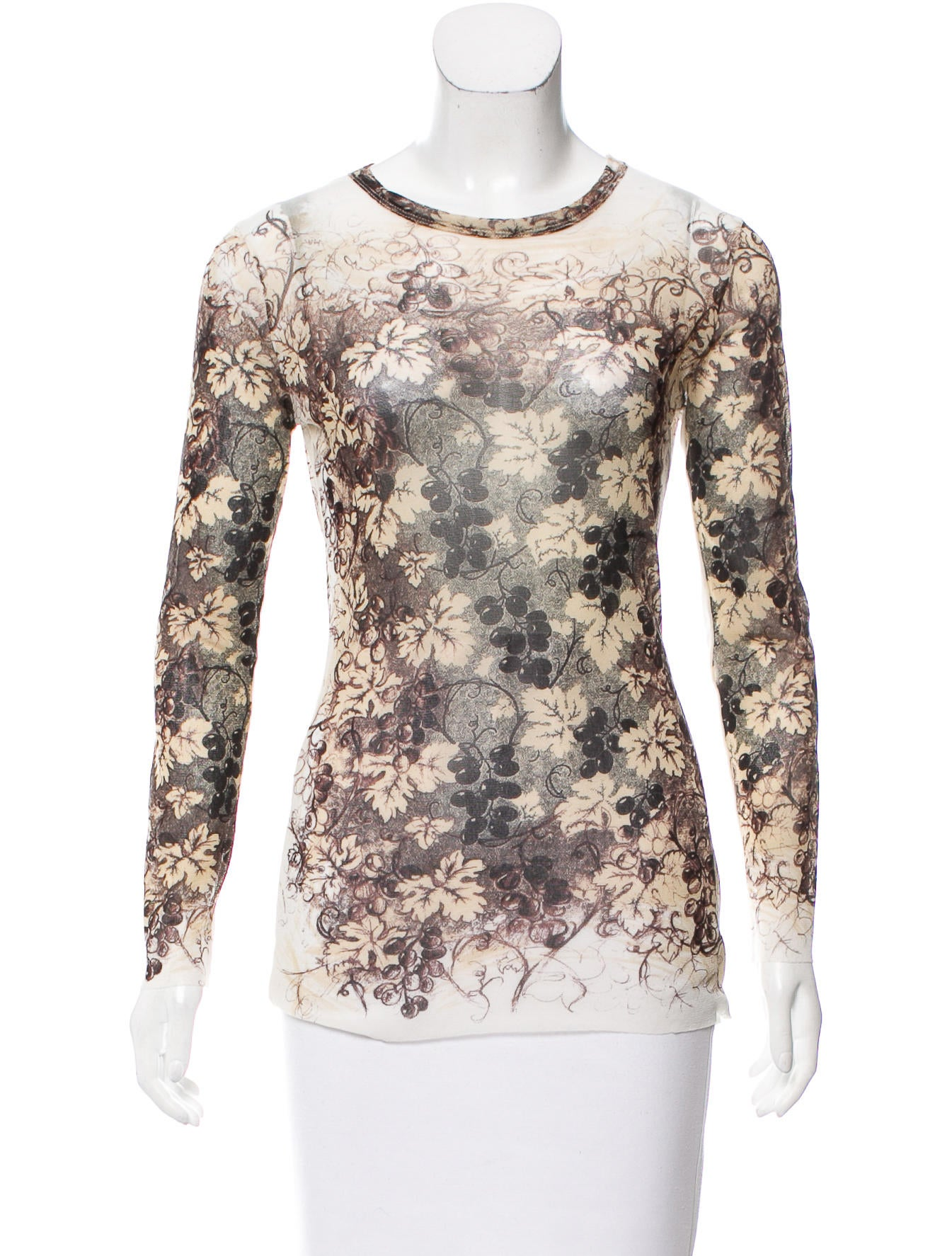 Jean paul gaultier classique grape printed semi sheer top for Jean paul gaultier clothing