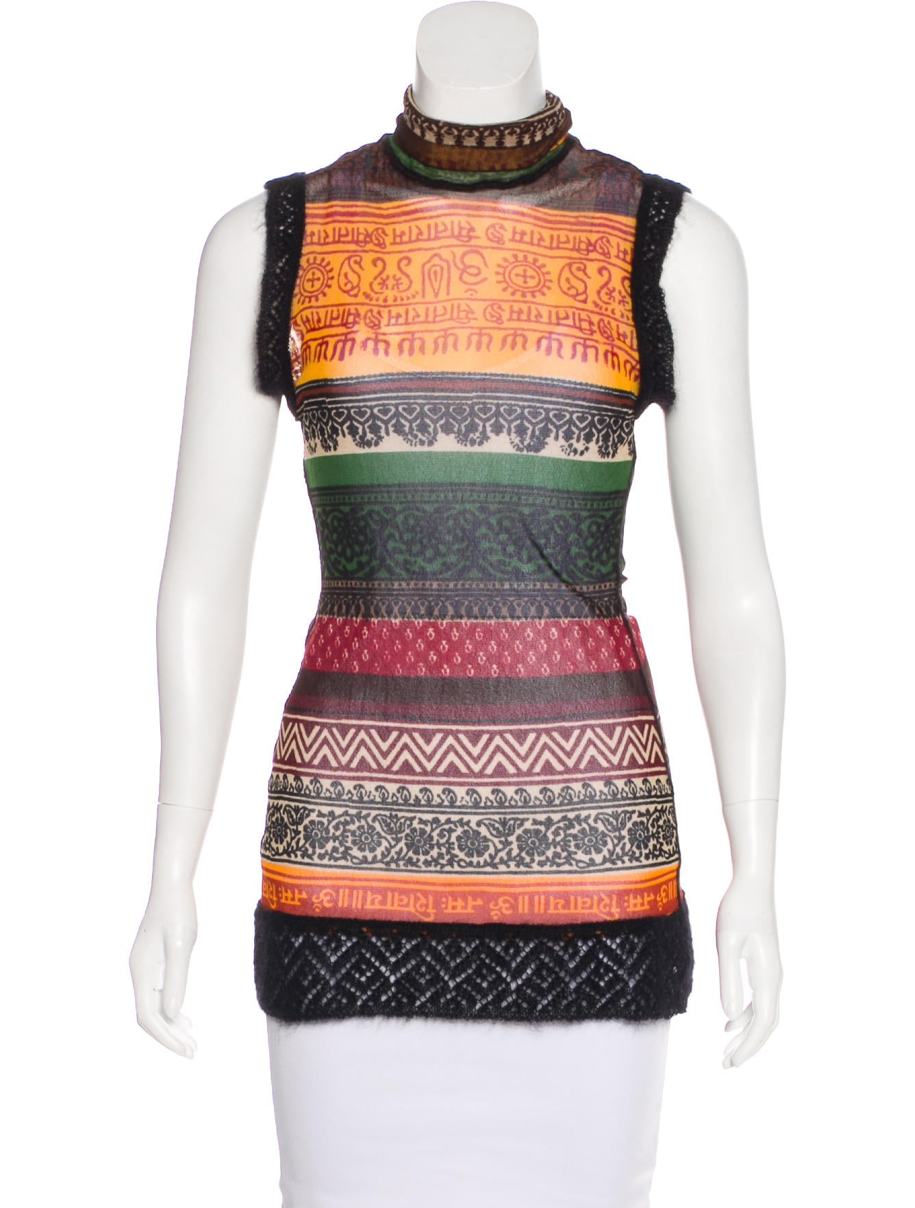 Jean paul gaultier classique printed mesh top clothing for Jean paul gaultier clothing