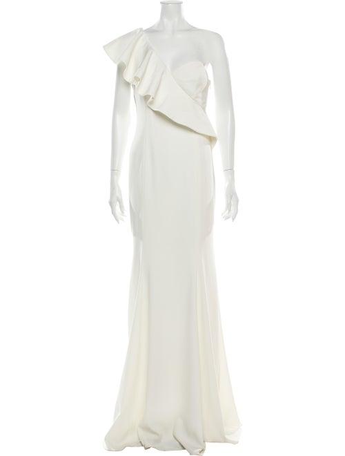 Jay Godfrey One-Shoulder Long Dress White
