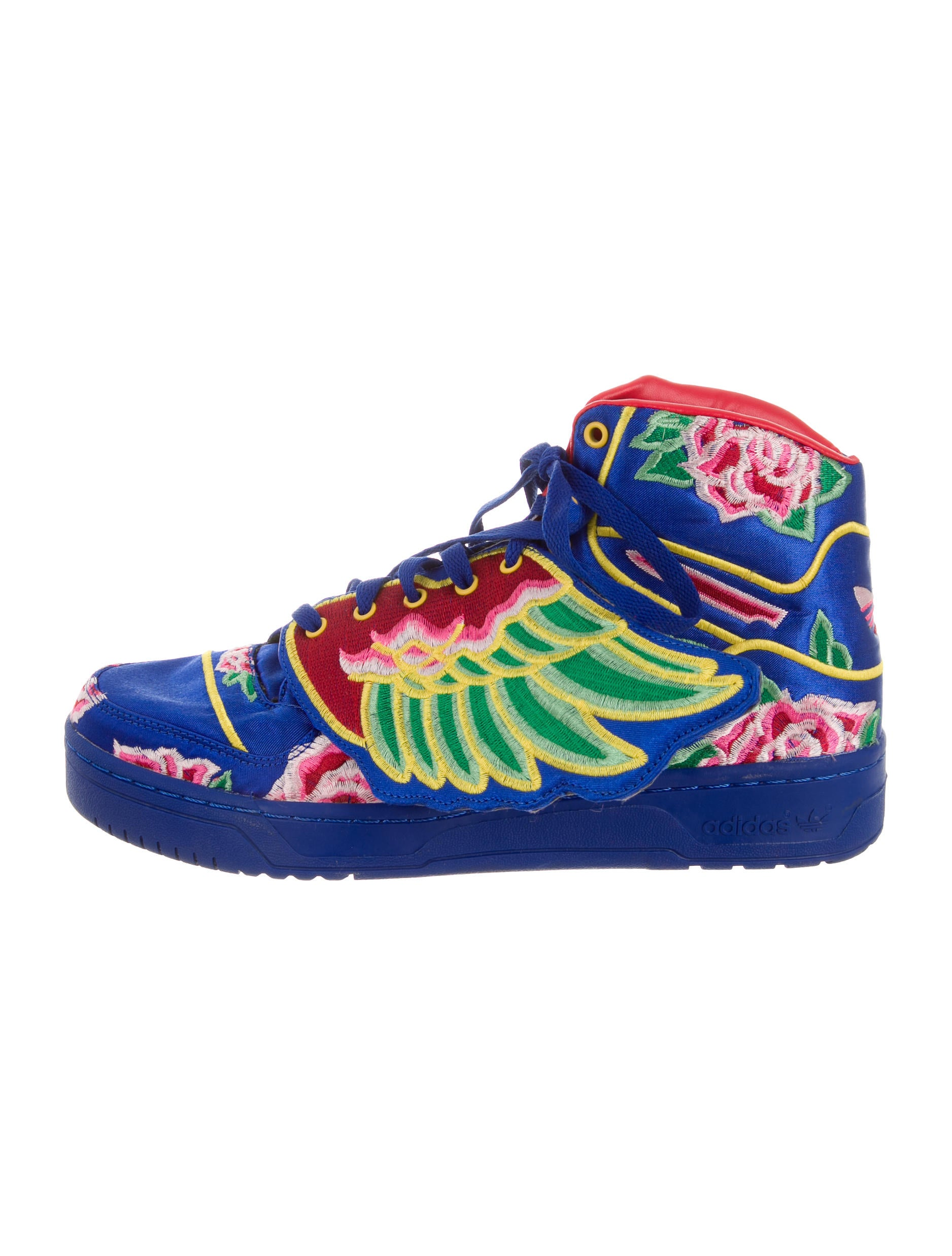 Jeremy scott adidas floral embroidered high top sneakers