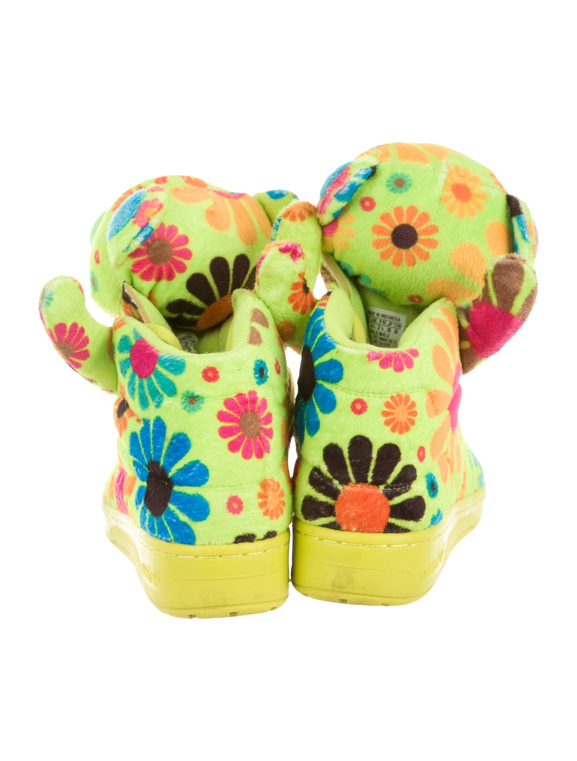 Jeremy Scott x Adidas Floral Bear High Top Sneakers  : WJA201174enlarged from www.therealreal.com size 1901 x 2508 jpeg 261kB
