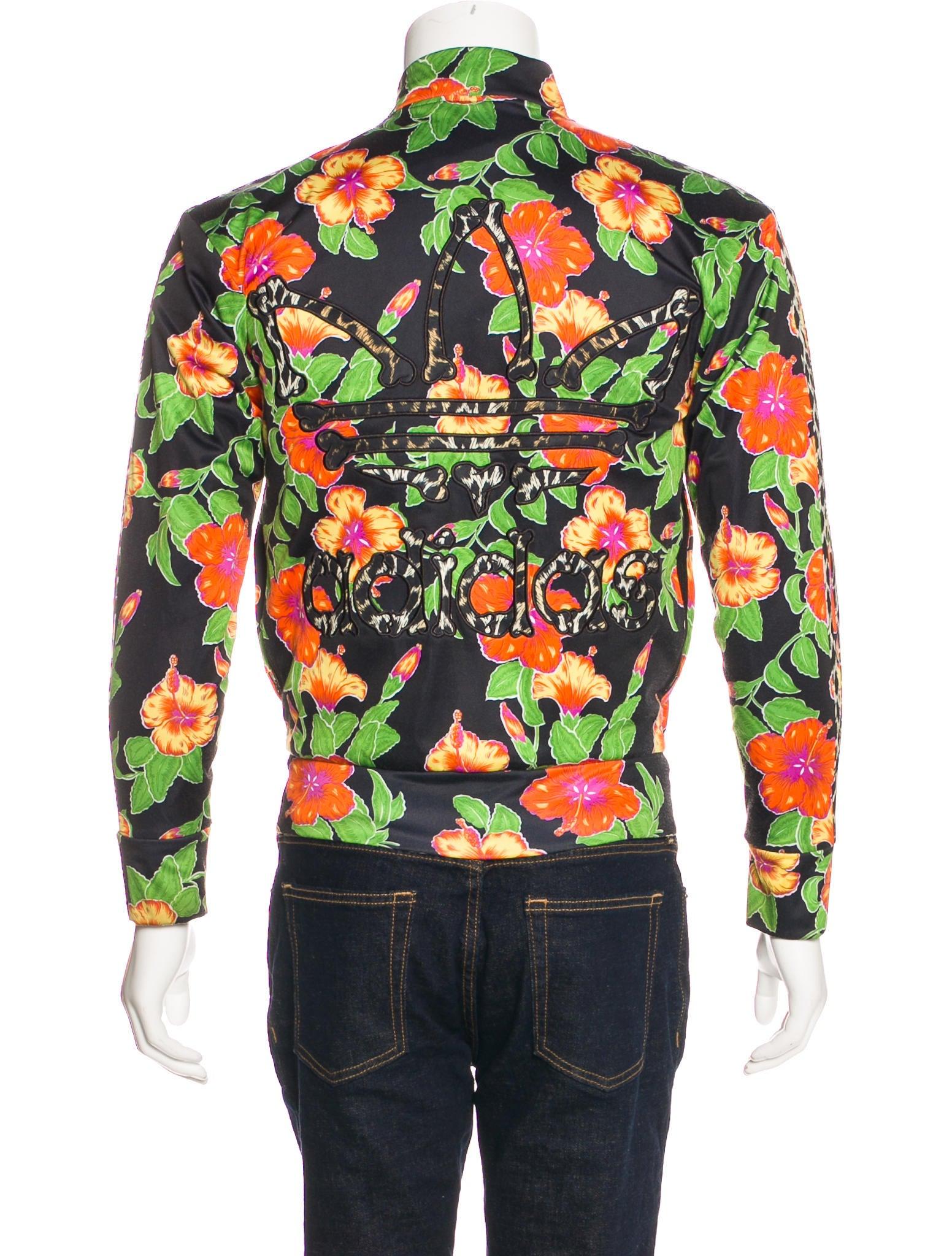 jeremy scott x adidas floral bone track jacket - clothing