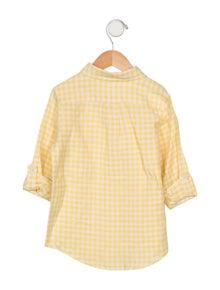 Janie and Jack Boys' Linen-Blend Checkered Shirt